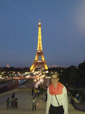 Lolo and the Eiffel Tower all lit up